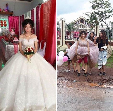 Đám cưới của cô dâu Nguyễn Ngọc Thủy, SN 1997 ở Cư M'gar Daklak và chồng là Nguyễn Công Vũ, sinh năm 1991 quê ở Quảng Nam.