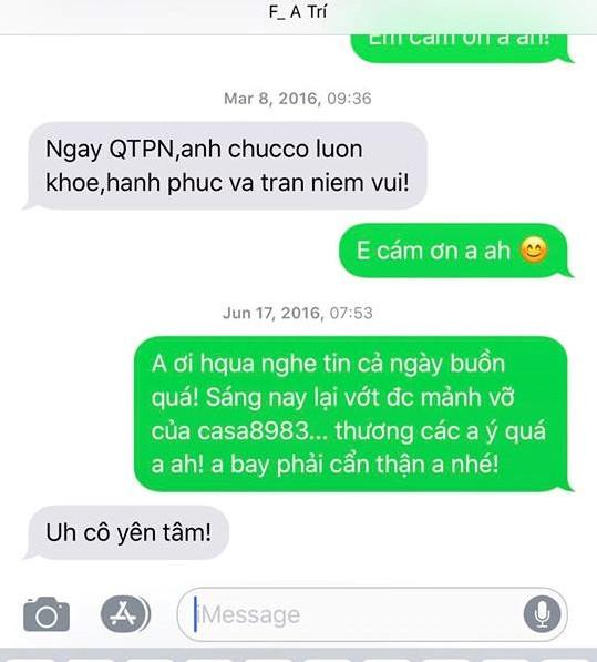 Những đoạn tin nhắn giữa trung tá Trí và phóng viên Nguyệt Minh vào năm 2016, thời điểm 2 chiếc máy bay Su-30 và CASA-212 của Không quân Việt Nam rơi trên biển. Ảnh: NVCC.