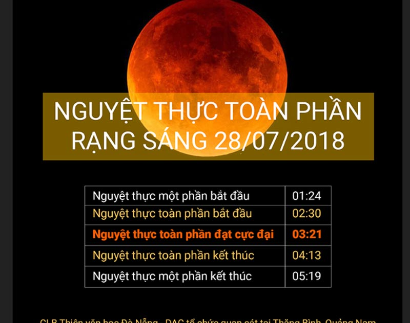 Nếu điều kiện thời tiết thuận lợi, rạng sáng 28/7 người Việt sẽ được xem hiện tượng nguyệt thực toàn phần dài nhất thế kỷ.