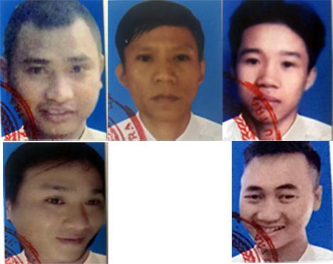 5 đối tượng bị truy nã