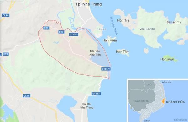 Xã Phước Đồng (màu hồng), nơi xảy ra vụ cháy. Ảnh: Google Maps.