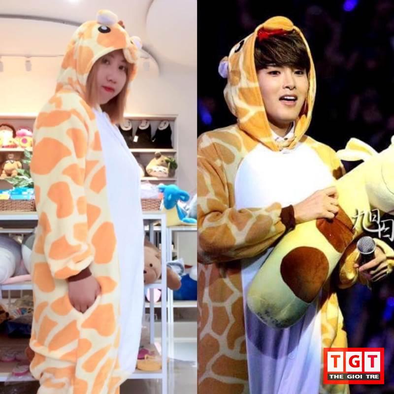 Lâm Ngọc Minh Châu(trái) mặc đồ giống thần tượng của mình là Super Junior Ryeowook