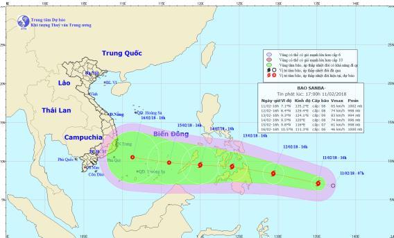 Dự báo hướng di chuyển của cơn bão Sanba. Ảnh: TTDBKTTVTƯ