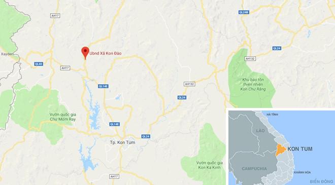 Sự việc xảy ra tại xã Kon Đào, huyện Đăk Tô, Kon Tum. Ảnh: Google Maps