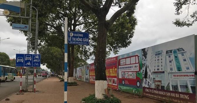 Dự án nhìn từ góc ngã tư Lê Thị Hồng Gấm - Nguyễn Tất Thành, mặt đường, vĩa hè đường Nguyễn Tất Thành