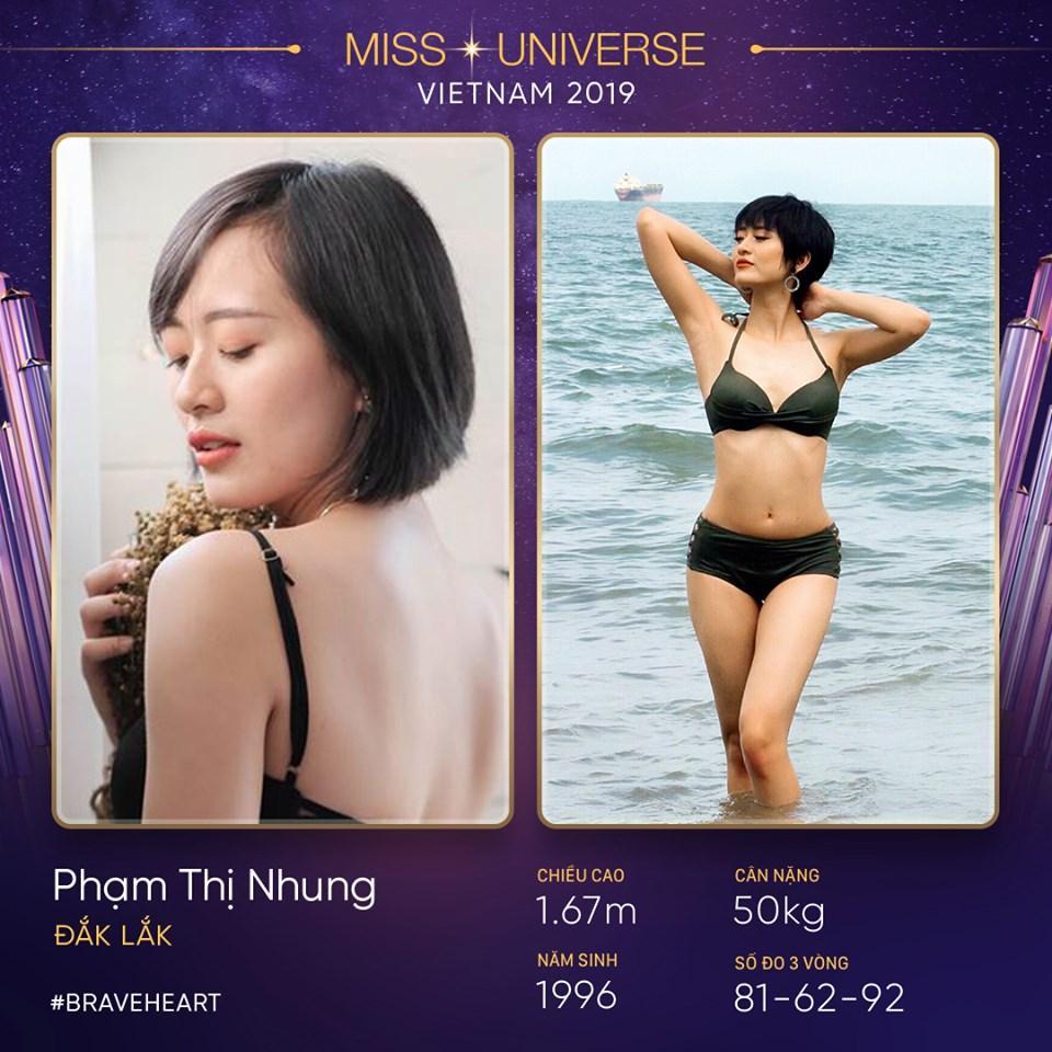 Người đẹp tóc tém Phạm Thị Nhung đến từ Đắk Lắk, không có chiều nổi trội nhưng số đo ba vòng cân đối.