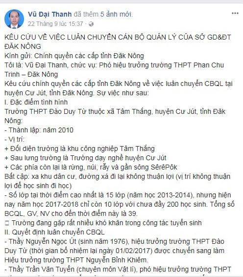 Facebook ông Thanh đăng nội dung kêu cứu vì bị luôn chuyển. Ảnh: Chụp màn hình.