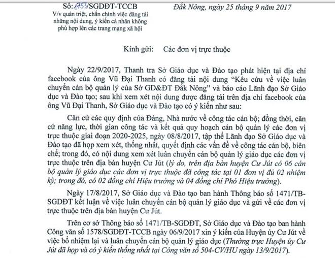 Sở GD&ĐT Đắk Nông yêu cầu cán bộ không được đăng những nội dung ảnh hưởng ngành lên Facebook. Ảnh: Minh Quý.