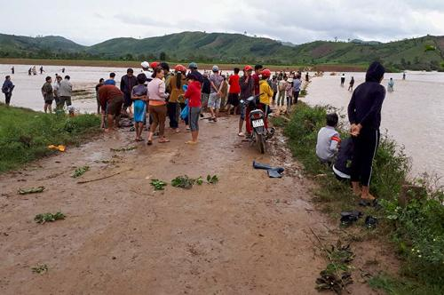 Người dân Đăk Lăk đổ xô bắt cá tầm trên sông, suối. Ảnh: Đức Giờ.