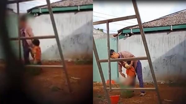 Người phụ nữ bạo hành trẻ em. Ảnh cắt từ clip