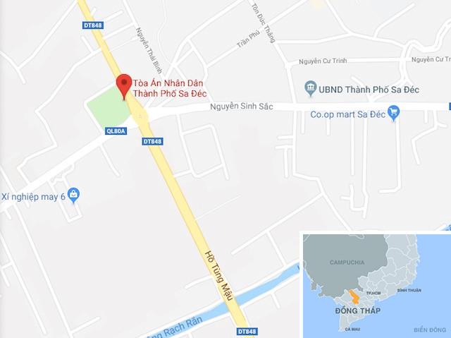 Tỉnh lộ 848 qua TP Sa Đéc, nơi xảy ra tai nạn. Ảnh: Google Maps.