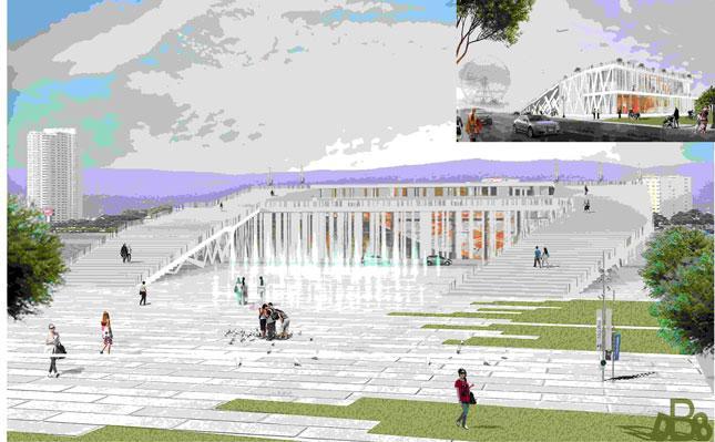 Ý tưởng cải tạo chợ Hàn với sàn mái thành ban-công kết nối Quảng trường trung tâm với sông Hàn. Phối cảnh hướng nhìn từ đường Yên Bái (ảnh lớn) và góc Bạch Đằng - Nguyễn Thái Học (ảnh nhỏ).