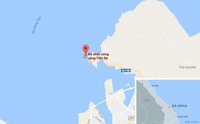 Vị trị tàu bị đâm chìm. Ảnh: Google Maps.