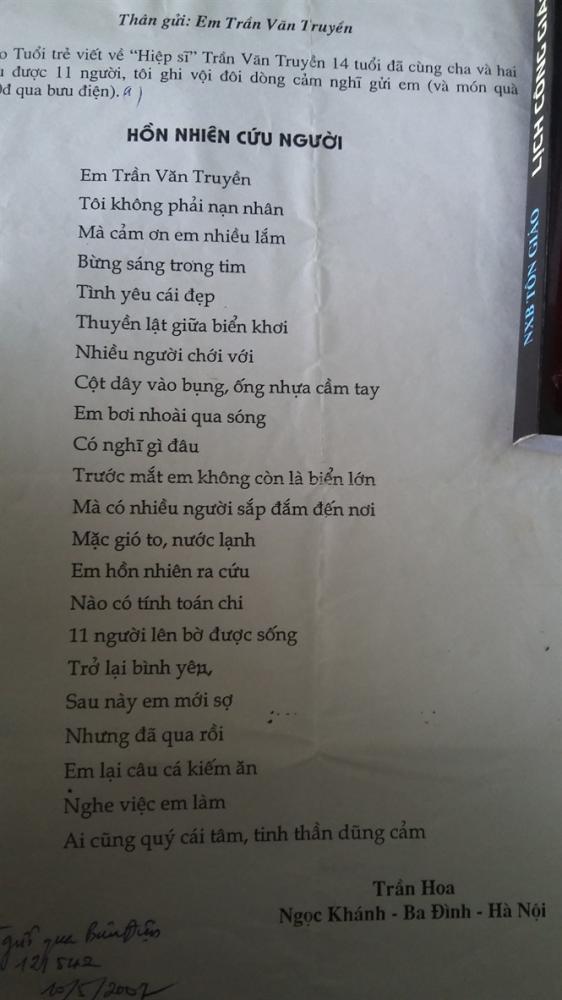 Bài thơ của những đọc giả gửi tặng Truyền khi biết hành động dũng cảm của em