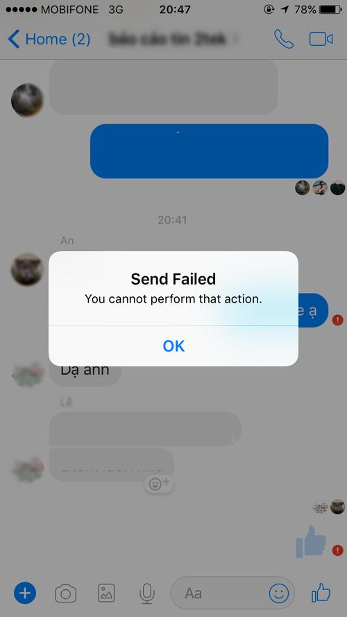 Người dùng gặp khó khăn khi truy cập một số tính năng của Facebook.