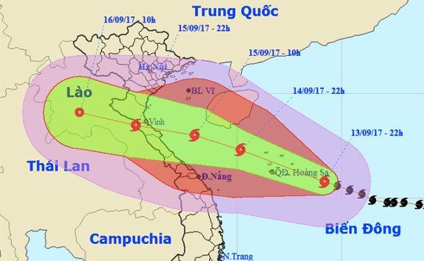 Đường đi của bão số 10 nhằm thẳng khu vực Bắc Trung bộ