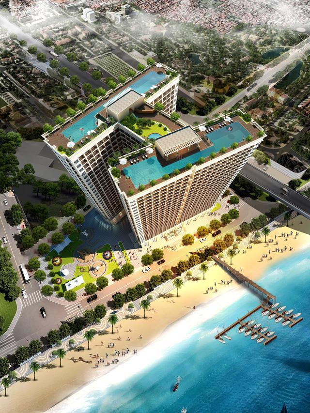 Bể bơi nằm ở mái tòa nhà 27 tầng Hòa Bình Green Đà Nẵng