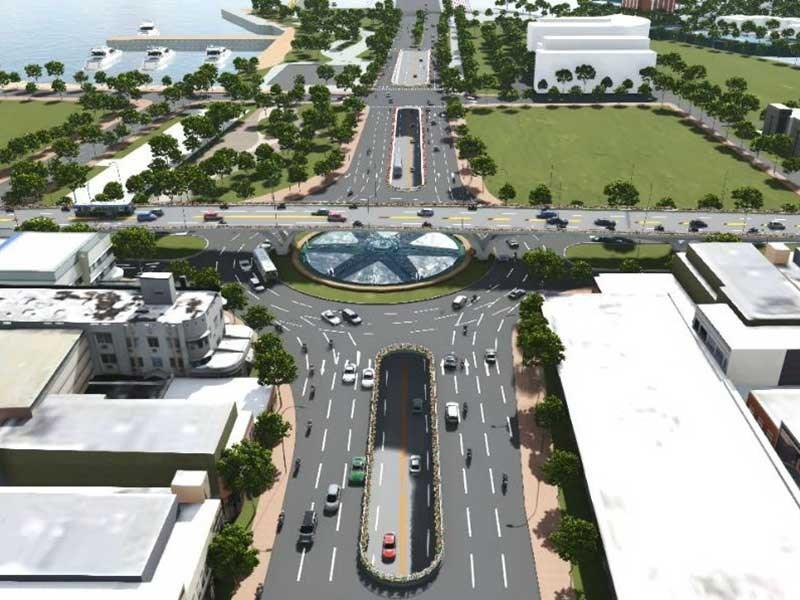 Phối cảnh nút giao thông ba tầng phía Tây cầu Trần Thị Lý sau khi hoàn thành. Ảnh: BQL