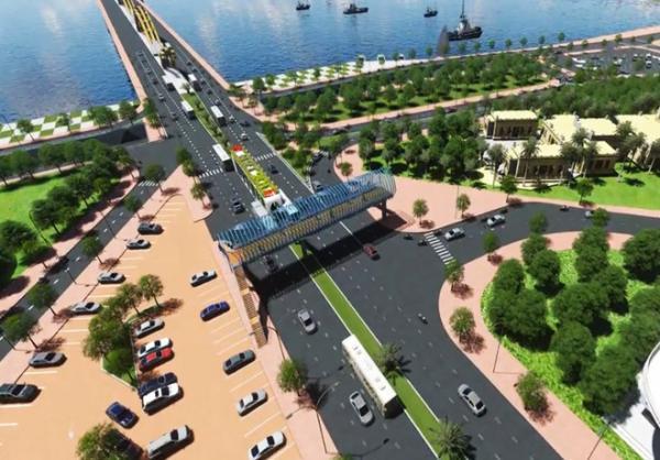 Phối cảnh 3D một phương án cải tạo nút giao thông ở phía tây cầu Rồng. Ảnh: Đơn vị thiết kế cung cấp.