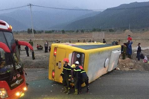 Vụ tai nạn giao thông xảy ra vào khoảng 5h ngày 12/2, khu vực Khu Công nghệ cao Đà Nẵng (xã Hòa Liên, huyện Hòa Vang, Đà Nẵng). Ảnh: Công an Nhân dân