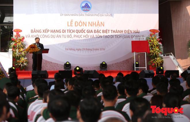 Toàn cảnh Lễ đón nhận Bằng xếp hạng di tích quốc gia đặc biệt Thành Điện Hải. Ảnh: Đức Hoàng
