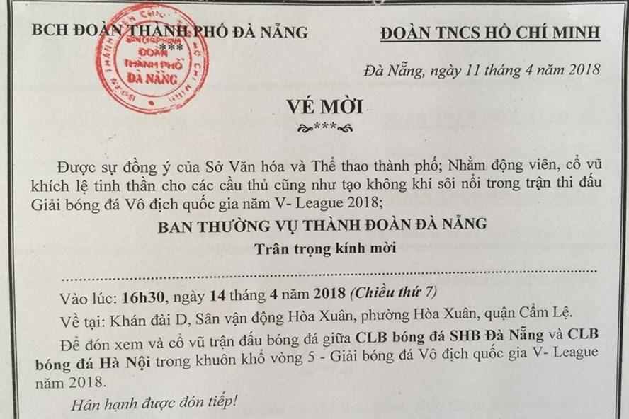 Đà Nẵng phát 1.500 vé miễn phí xem bóng đá V - League cho thanh niên