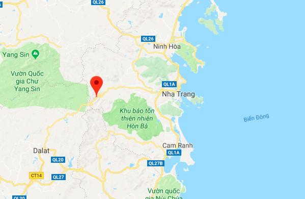 Đèo Khánh Lê (chấm đỏ),nối Nha Trang - Đà Lạt., khu vực xe khách gặp nạn. Ảnh: Google Maps.