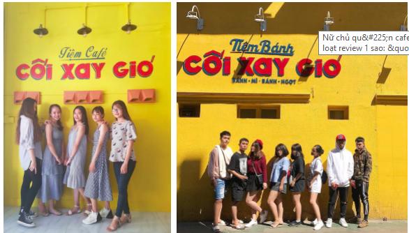 Tiệm cafe Cối Xay Gió (trái) ở Đà Nẵng bị nhiều người phản đối vì sử dụng tên, màu vàng của bức tường và font chữ gần như giống tiệm bánh Cối Xay Gió nổi tiếng Đà Lạt. Chỉ khác một bên là tiệm cafe - một bên là tiệm bánh.