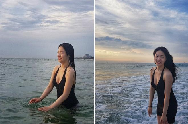 Hyo Young vui chơi tại Đà Nẵng.