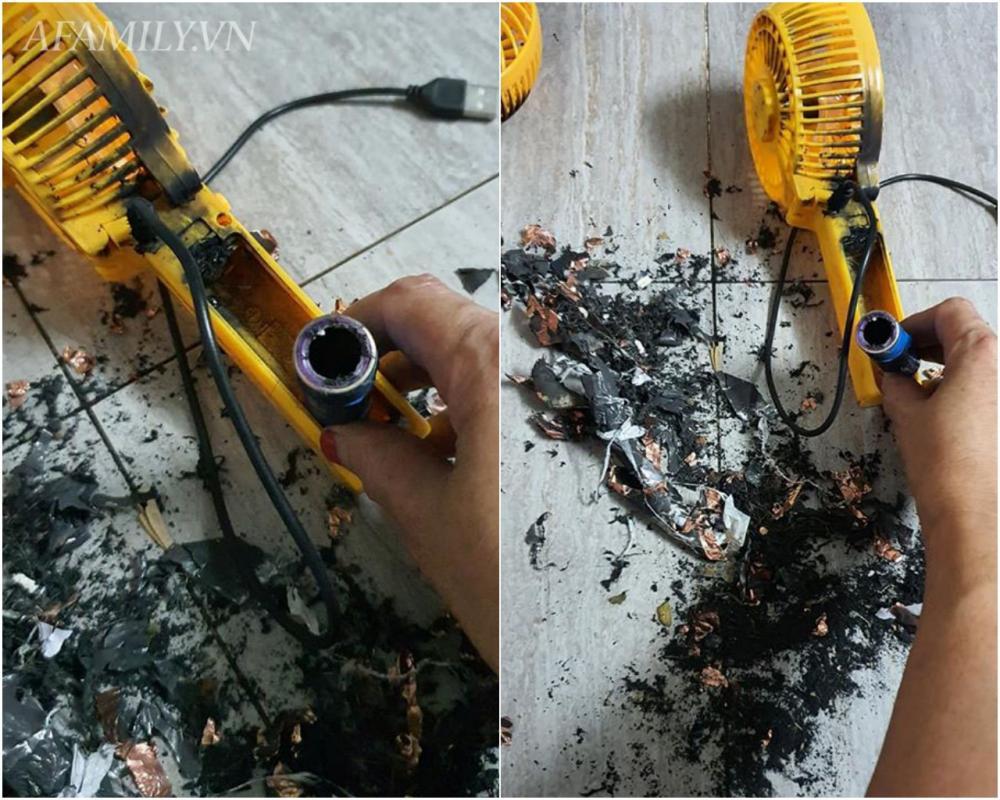 Hình ảnh chiếc quạt phát nổ khi đang sạc cháy đen.