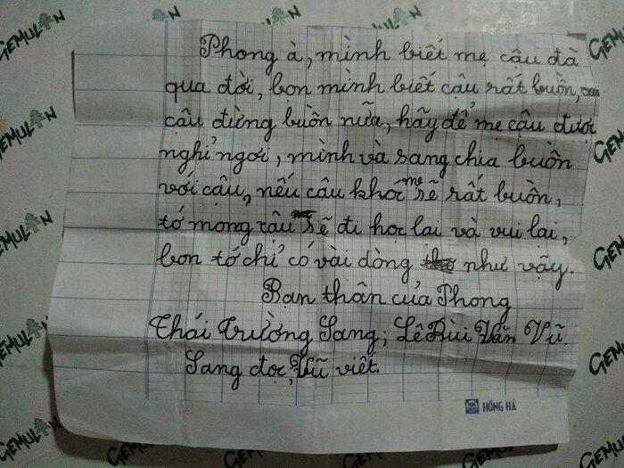 Nội dung bức thư mà cậu bé nhận được