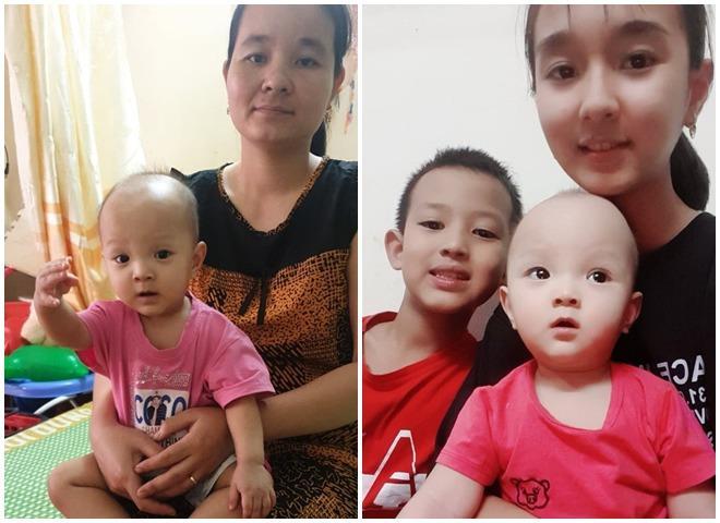 Chị Huệ và 3 bé.