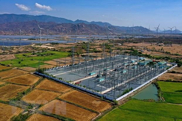 Trạm biến áp 220kV Tháp Chàm được nâng công suất để giải toả công suất các nguồn điện năng lượng tái tạo trên địa bàn tỉnh Ninh Thuận. (Ảnh: Ngọc Hà/TTXVN)