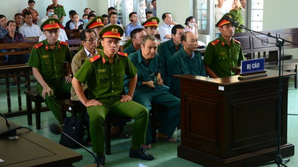 Các bị cáo tại phiên tòa. Ảnh: CTV