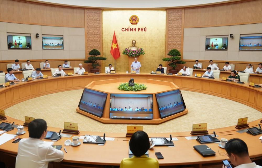 Toàn cảnh cuộc họp Thường trực Chính phủ về phòng, chống dịch Covid-19 sáng 27/7. Ảnh: VGP.