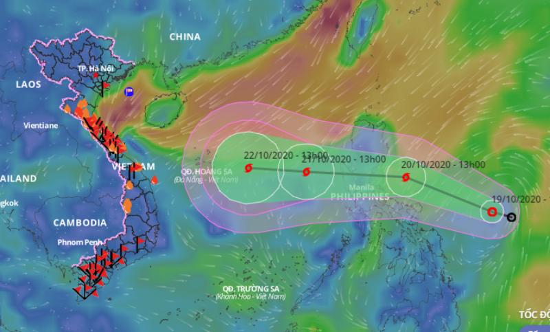 Áp thấp nhiệt đới có khả năng mạnh lên thành bão và đi vào Biển Đông. Ảnh: VNDMS