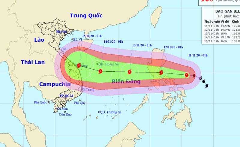 Vị trí và hướng di chuyển của bão Vamco. (Nguồn: nchmf.gov.vn)