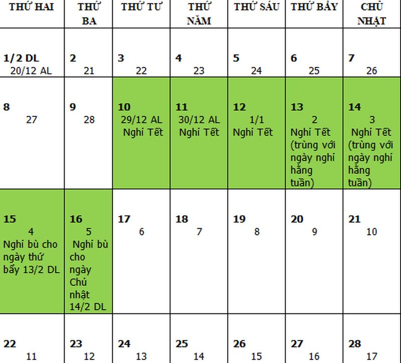 Lịch nghỉ tết Âm lịch chính thức năm 2021. Ảnh: V. LONG