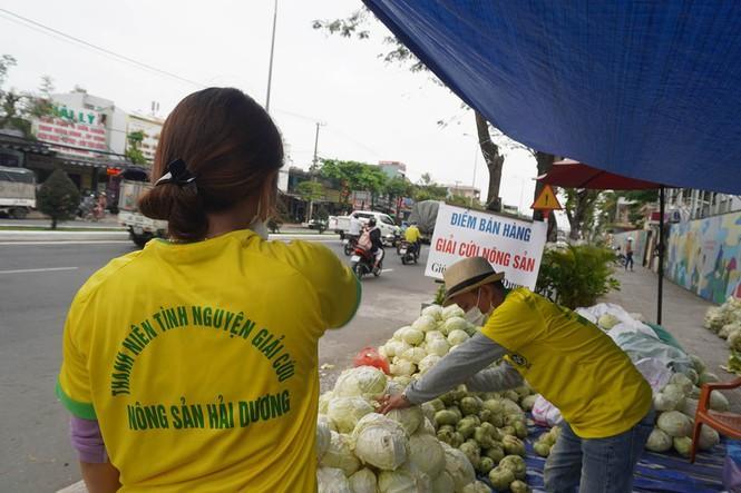 Vợ chồng anh Tương đang sắp xếp bày bán nông sản - Ảnh: Đức Thảo