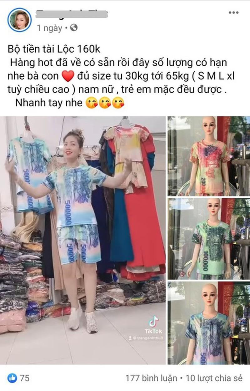 Quảng cáo bán sản phẩm quần áo in hình tiền. Ảnh chụp màn hình. Nguồn: Mạng xã hội.