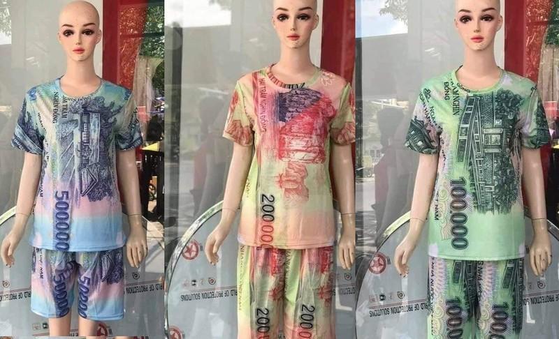 Các loại quần áo in hình tiền với các mệnh giá khác nhau được rao bán trên mạng xã hội.