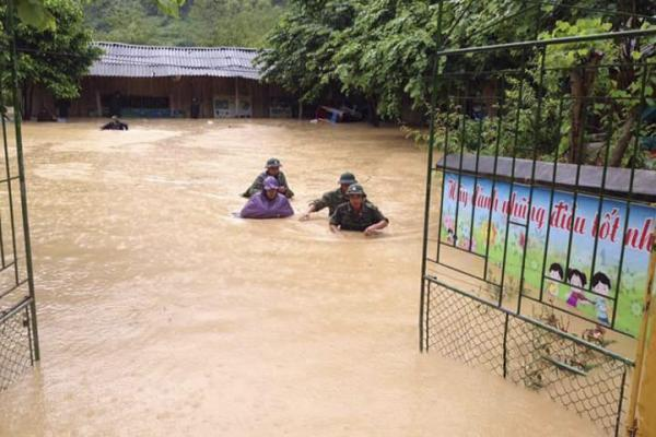 Mưa lớn đã gây ngập lụt tại xã Mường Lói huyện Điện Biên. Ảnh: dienbientv.vn