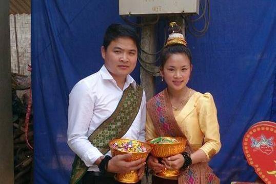 Lễ cưới của đôi bạn trẻ dân tộc Lào.