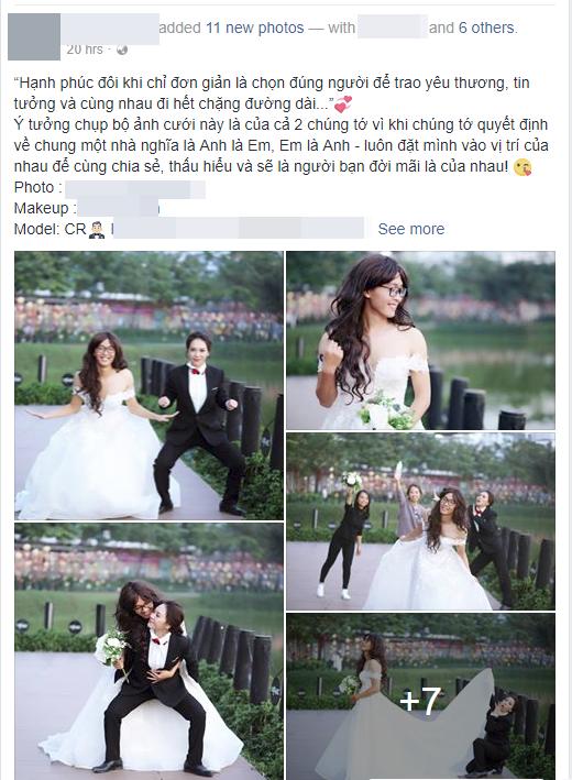 Bộ ảnh cưới độc đáo được chia sẻ lên mạng xã hội khiến nhiều người bật cười thích thú. Ảnh chụp màn hình.