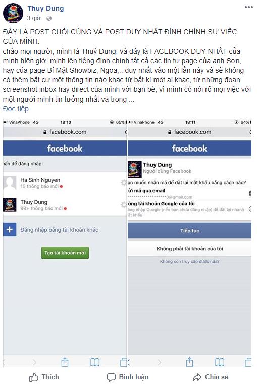 Facebook mới được cho là D. lên tiếng đính chính về vụ việc ồn ào nhiều ngày qua. Ảnh chụp màn hình.