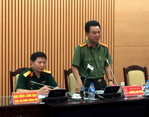 Đại diện Công an TP Hà Nội và Cục bảo vệ An ninh Quân đội thông tin về vụ việc.