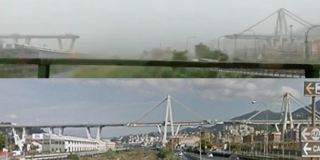 Hình ảnh từ hiện trường cho thấy một đoạn dài đường cao tốc đã biến mất trên không trung, để lại phía dưới là lớp gạch đá lớn và một số phương tiện giao thông.