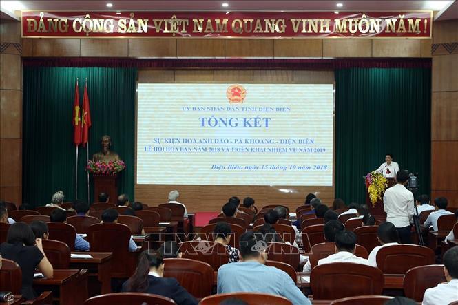 Hội nghị tổng kết sự kiện hoa Anh đào - Pá Khoang - Điện Biên và Lễ hội Hoa ban năm 2018; triển khai nhiệm vụ năm 2019. Ảnh: Tuấn Anh/TTXVN