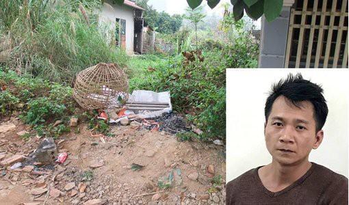 Nghi phạm Vương Văn Hùng (ảnh nhỏ) và chiếc lồng gà của nạn nhân được tìm thấy.