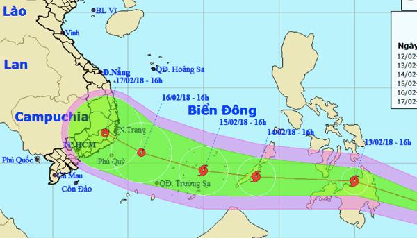 Dự kiến bão Sanba sẽ đi vào Biển Đông vào đúng 30 Tết. Ảnh: NCHMF